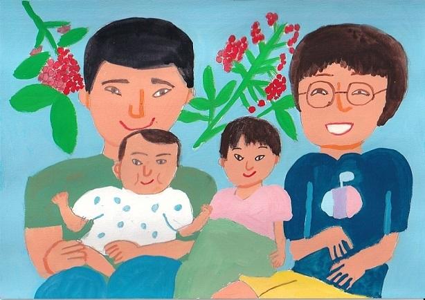「4人家族になった友達の絵」_d0259392_01074383.jpg