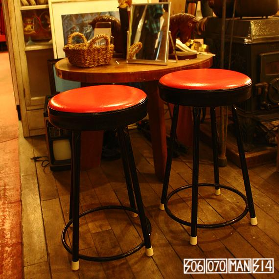 1970s Vintage 赤と黒 パイプスツール 2脚セット_e0243096_16224427.jpg