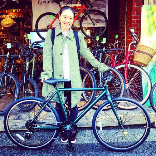 ☆本日のバイシクルガール☆ 自転車女子 自転車ガール ミニベロ クロスバイク ライトウェイ トーキョーバイク シュウイン ラレー ブルーノ おしゃれ自転車 マリン ターン シェファード_b0212032_15142769.jpeg