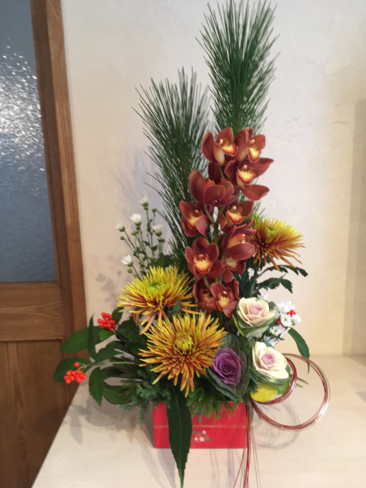 お正月花のレッスン〜自宅_f0155431_21202375.jpg