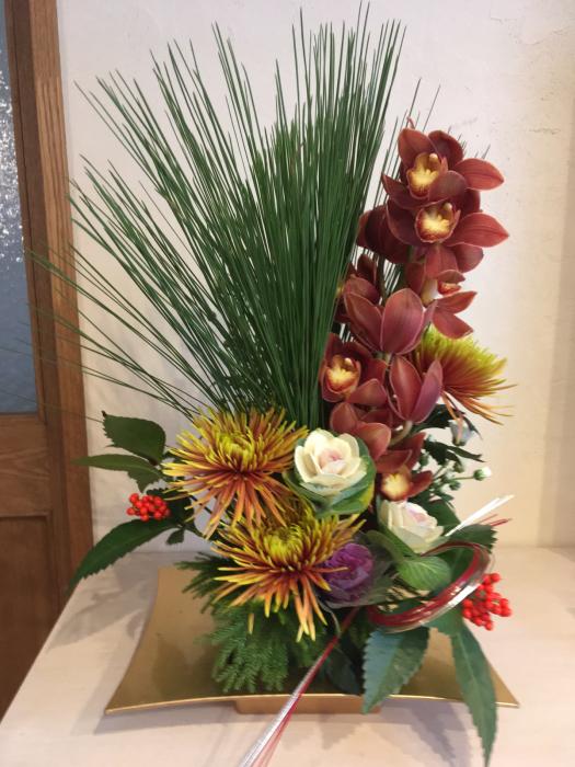 お正月花のレッスン〜自宅_f0155431_21202654.jpg