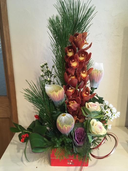 お正月花のレッスン〜自宅_f0155431_21240455.jpg