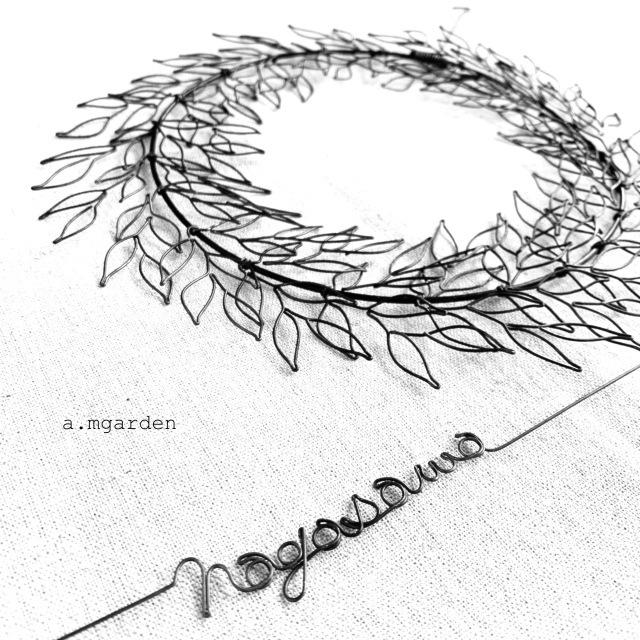 wire leaf wreathe表札。_b0125443_16355044.jpeg