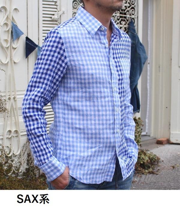 フレンチリネンシャツにシンプルな単色ギンガムチェックネイビーも新登場!_d0108933_18203570.jpg