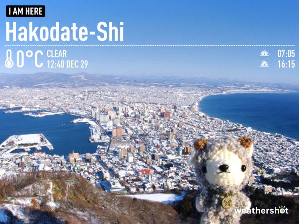 [ぬい撮り] あみぐるみ羊さんと函館山山頂からの雪景色♪_f0340004_17481657.jpg