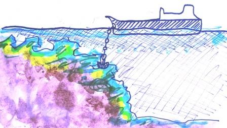 サンゴ礁に乗り上げた座礁船_d0083068_16560909.jpg