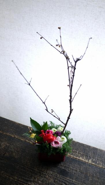 お正月のアレンジメント。「可愛い感じ」。白石区川下1条にお届け。2019/12/30。_b0171193_00083253.jpg