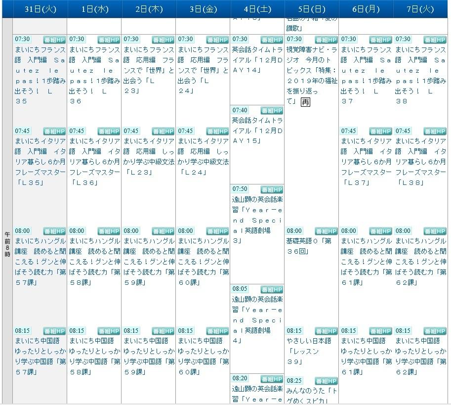 2019年は年末年始の特番がない!/NHKラジオ第2 (19年12月31日) _c0059093_11440632.jpg