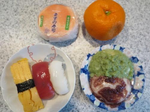 朝:おせち「博多」、お雑煮&寿司セット 昼:ますの寿司、寿司&餅 夜:ますの寿司、寿司&餅_c0075701_20523662.jpg