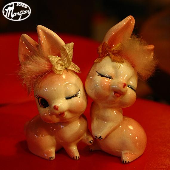 1960s Vintage うっとりするにも程があるウサギの陶器人形_e0243096_20171052.jpg