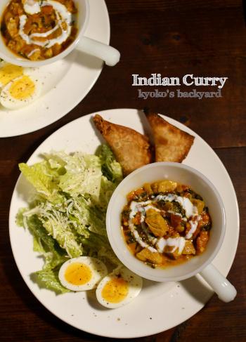 インドカレー、サモサ、シーザーサラダ、ゆで卵のワンプレート+チャパティ_b0253205_12093592.jpg