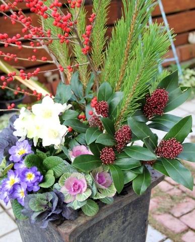 ◆松飾りの寄せ植え作り_e0154682_22581445.jpg