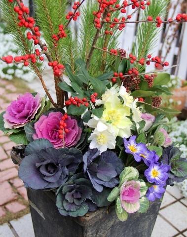 ◆松飾りの寄せ植え作り_e0154682_22582401.jpg