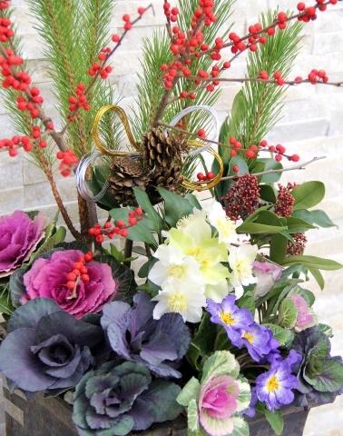 ◆松飾りの寄せ植え作り_e0154682_22590094.jpg