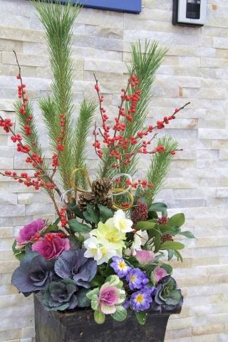 ◆松飾りの寄せ植え作り_e0154682_23012694.jpg