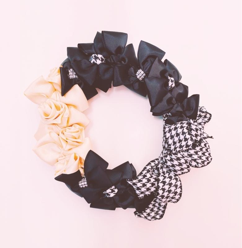 【Ribbon Wreath Black & Cream リボンリース・ブラック&クリーム】_c0196240_17485248.jpeg