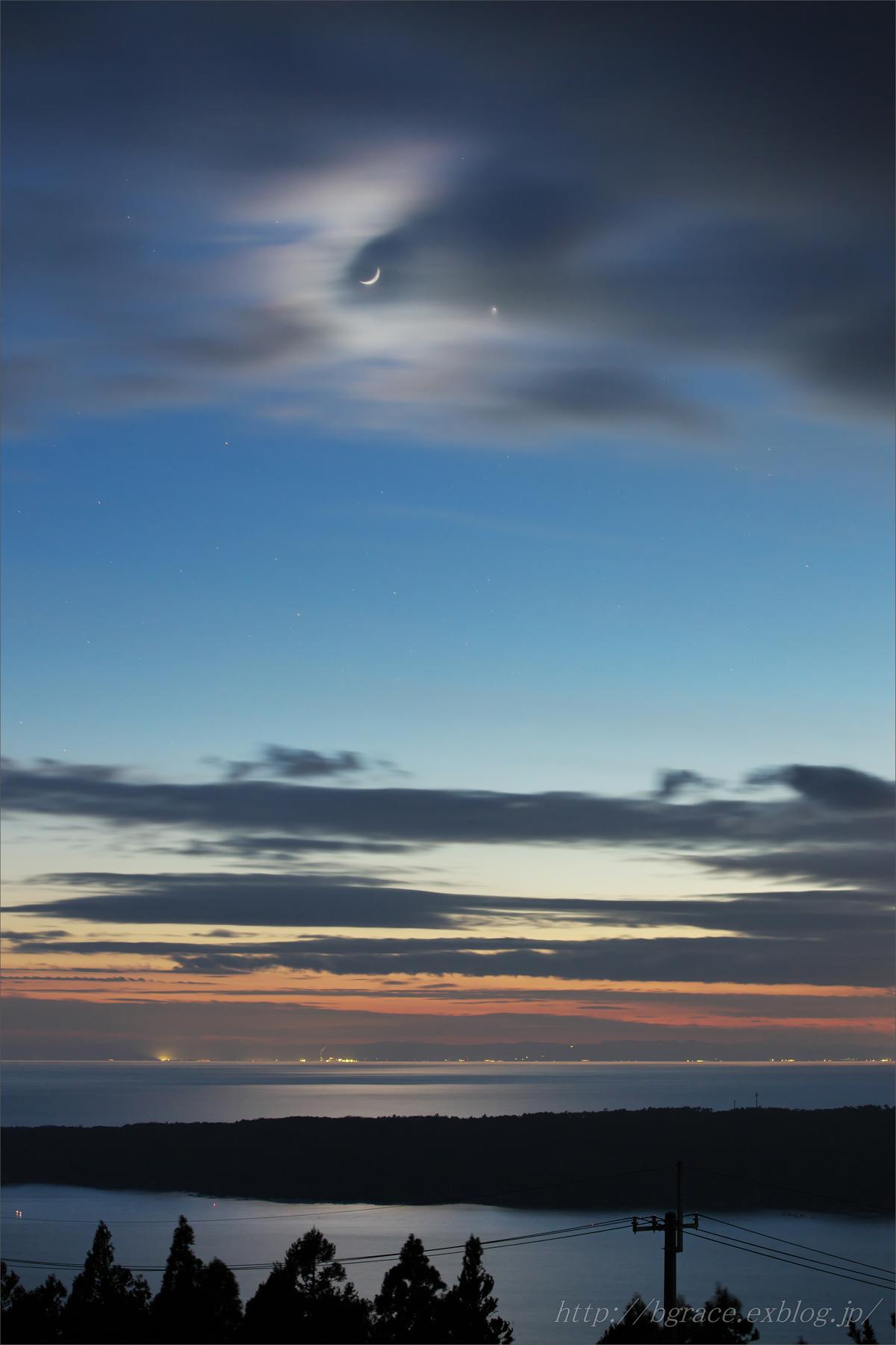 細い月と金星の接近_b0191074_19412775.jpg