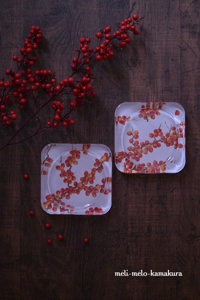 ◆デコパージュ*赤い実のガラストレー_f0251032_11521510.jpg