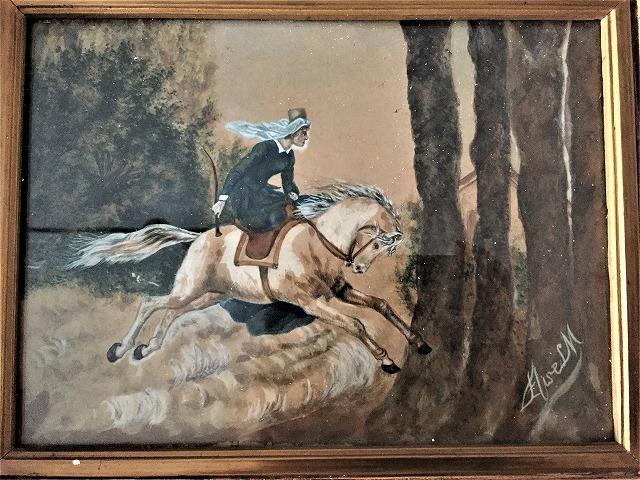 木製額入りオリジナル水彩画「馬を走らせる婦人」_f0112550_08250357.jpg
