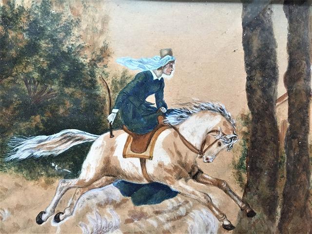 木製額入りオリジナル水彩画「馬を走らせる婦人」_f0112550_08250381.jpg