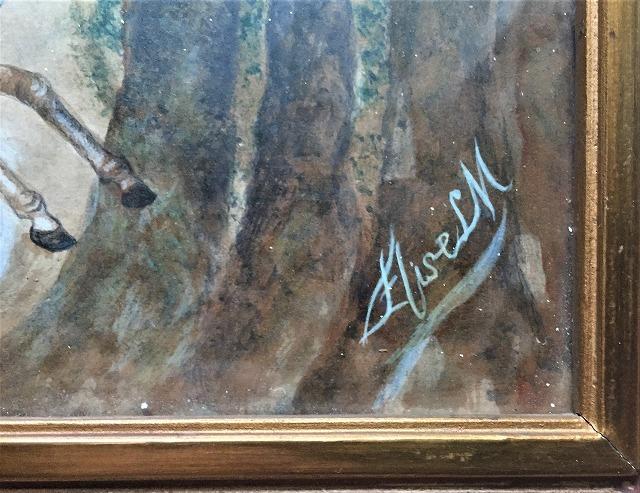 木製額入りオリジナル水彩画「馬を走らせる婦人」_f0112550_08250386.jpg