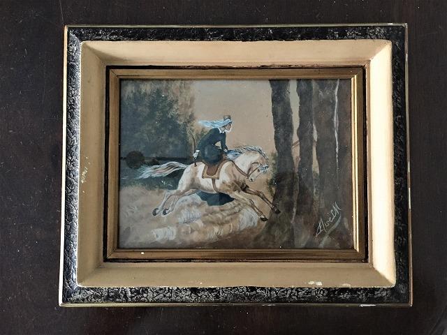 木製額入りオリジナル水彩画「馬を走らせる婦人」_f0112550_08250391.jpg