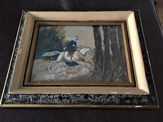 木製額入りオリジナル水彩画「馬を走らせる婦人」_f0112550_08250454.jpg