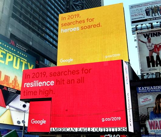 NYタイムズ・スクエアの巨大スクリーンでGoogleの流行語発表会⁉ 注目ワードはResilience(回復力)など_b0007805_12030074.jpg