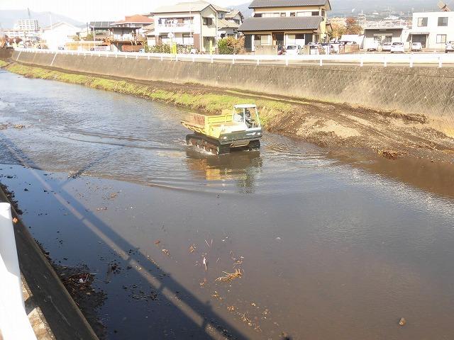川の中を土砂運搬車が動き回る! すっかりきれいになった小潤井川の津田・荒田島区間_f0141310_07394617.jpg