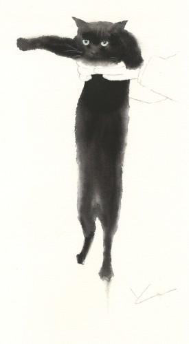 黒猫 水彩 墨_f0176370_15204011.jpg