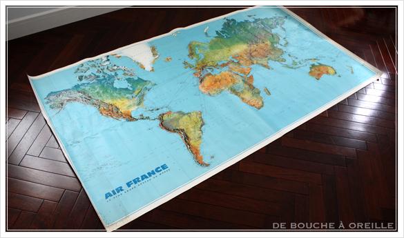 grande carte du monde AIR FRANCE エールフランスの大きな大きな世界地図 フランスアンティーク_d0184921_14470018.jpg