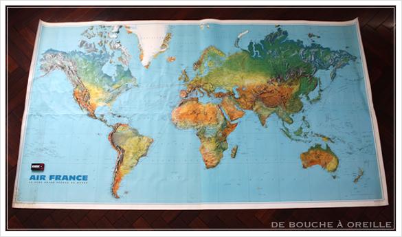 grande carte du monde AIR FRANCE エールフランスの大きな大きな世界地図 フランスアンティーク_d0184921_14485241.jpg