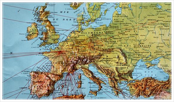 grande carte du monde AIR FRANCE エールフランスの大きな大きな世界地図 フランスアンティーク_d0184921_14515096.jpg