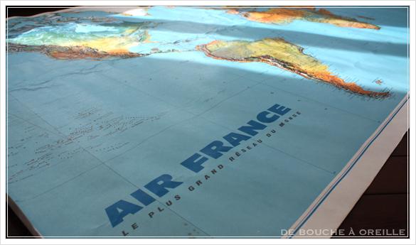 grande carte du monde AIR FRANCE エールフランスの大きな大きな世界地図 フランスアンティーク_d0184921_15090894.jpg