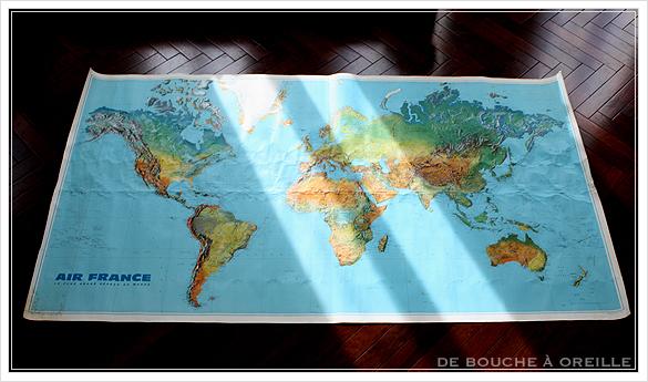 grande carte du monde AIR FRANCE エールフランスの大きな大きな世界地図 フランスアンティーク_d0184921_15123264.jpg