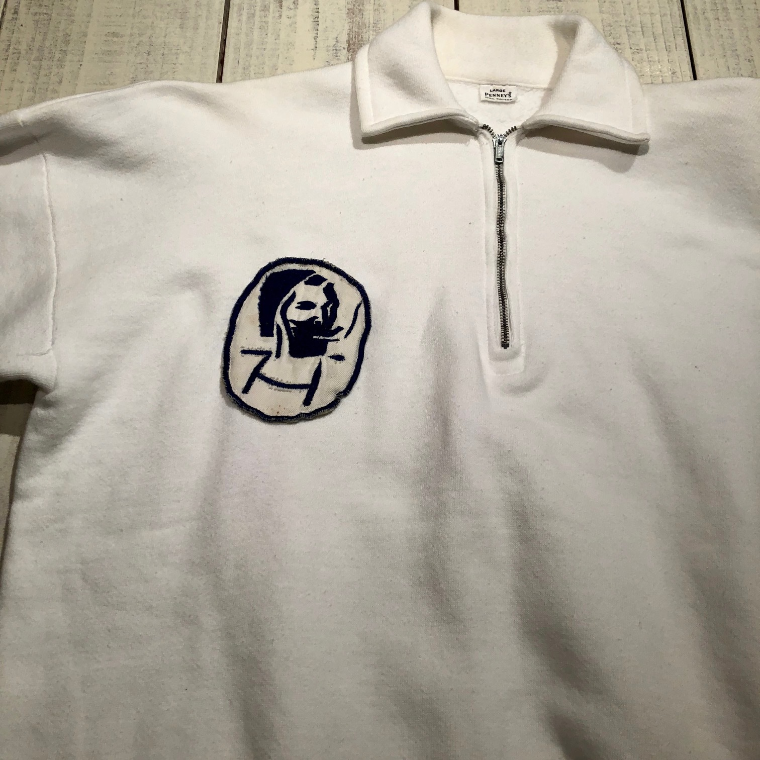 "1950s "" PENNEY\'S \"" ALL cotton VINTAGE - ZIG ZAG MAN - HALF/ZIP SWEAT SHIRTS ._d0172088_19162922.jpg"