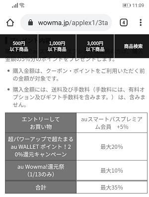 13日三太郎の日限定 au wowma 最大35倍還元の条件とポイント上限_d0262326_11120872.jpg
