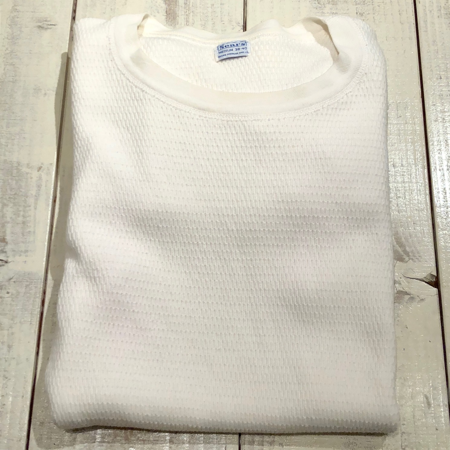 "1950s "" SEARS ROEBUCK AND CO. \"" ALL cotton HONEY-WAFFLE L/S THERMAL WEAR ※1月休業日のお知らせ ._d0172088_18581660.jpg"