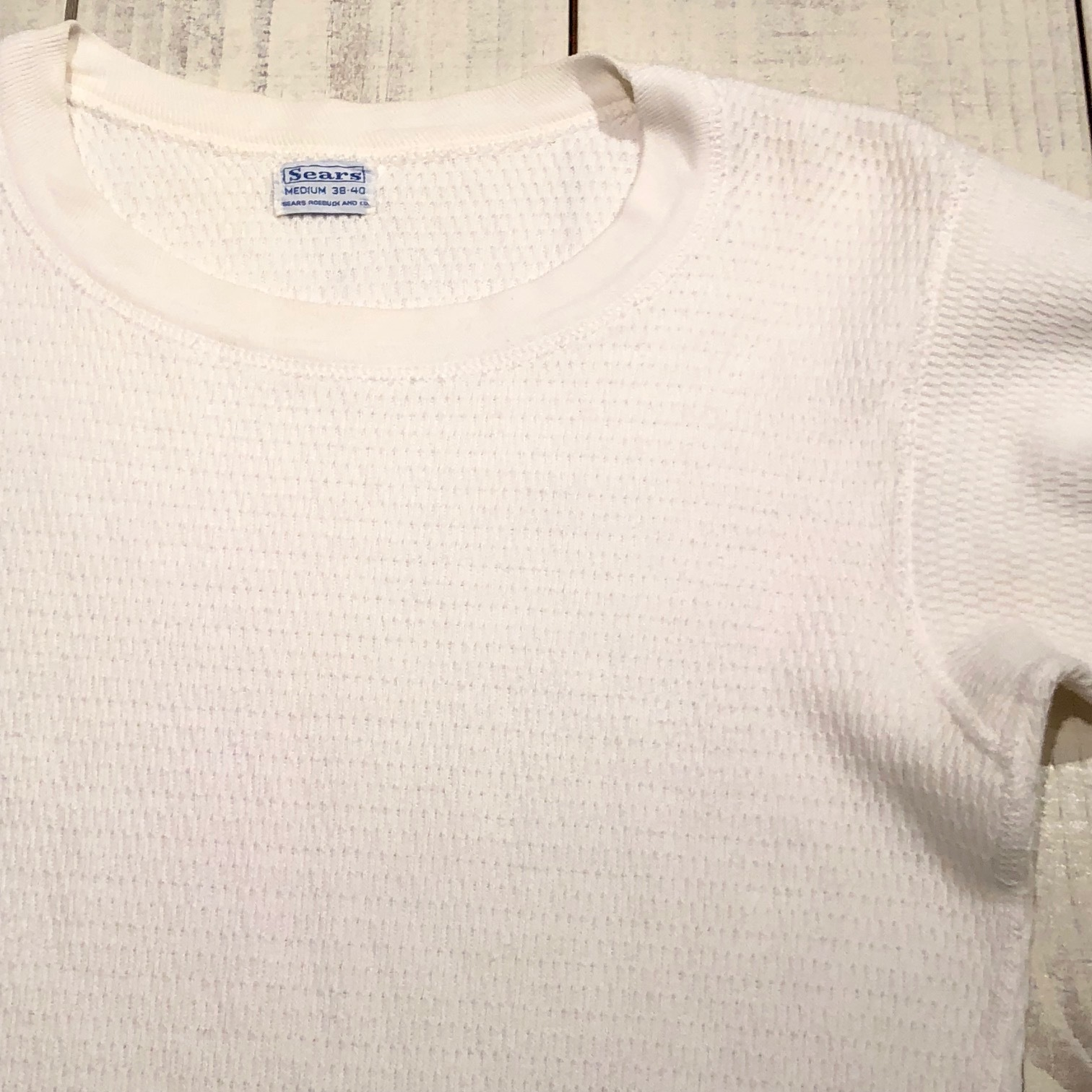 "1950s "" SEARS ROEBUCK AND CO. \"" ALL cotton HONEY-WAFFLE L/S THERMAL WEAR ※1月休業日のお知らせ ._d0172088_18594674.jpg"