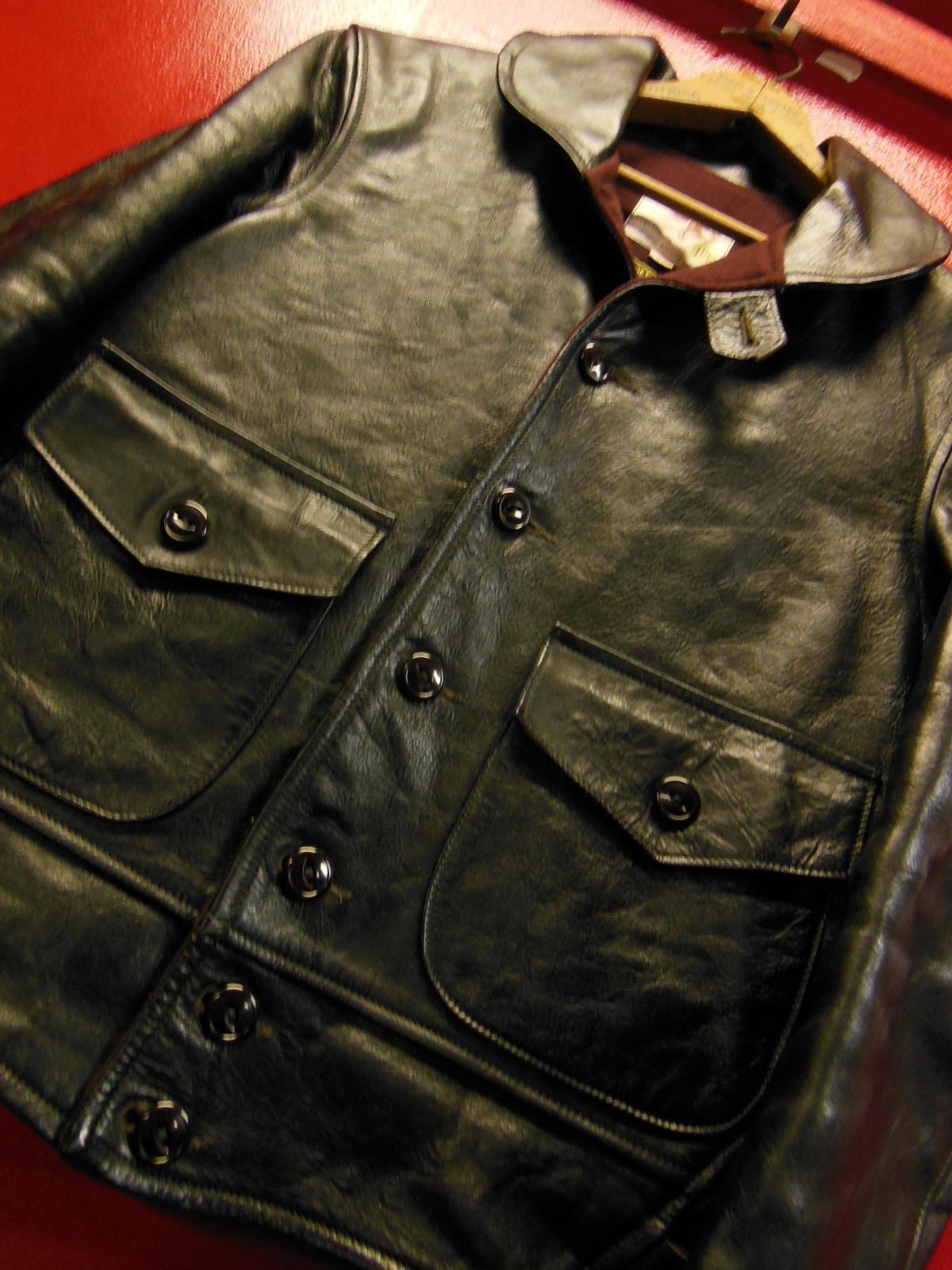 USED HIMEL BROTHERS LEATHER HERON 1929/新喜皮革製黒ホースハイド/SIZE-36/ボタンフロント A-1 ジャケット_c0187684_14574623.jpg
