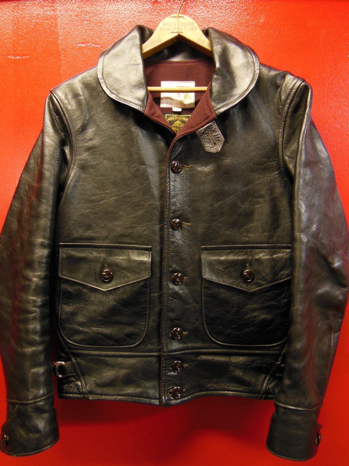 USED HIMEL BROTHERS LEATHER HERON 1929/新喜皮革製黒ホースハイド/SIZE-36/ボタンフロント A-1 ジャケット_c0187684_14580422.jpg
