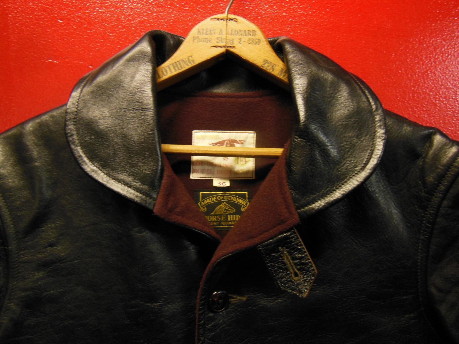 USED HIMEL BROTHERS LEATHER HERON 1929/新喜皮革製黒ホースハイド/SIZE-36/ボタンフロント A-1 ジャケット_c0187684_14583052.jpg