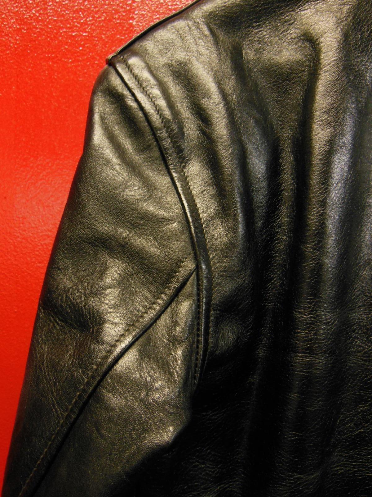 USED HIMEL BROTHERS LEATHER HERON 1929/新喜皮革製黒ホースハイド/SIZE-36/ボタンフロント A-1 ジャケット_c0187684_14592305.jpg