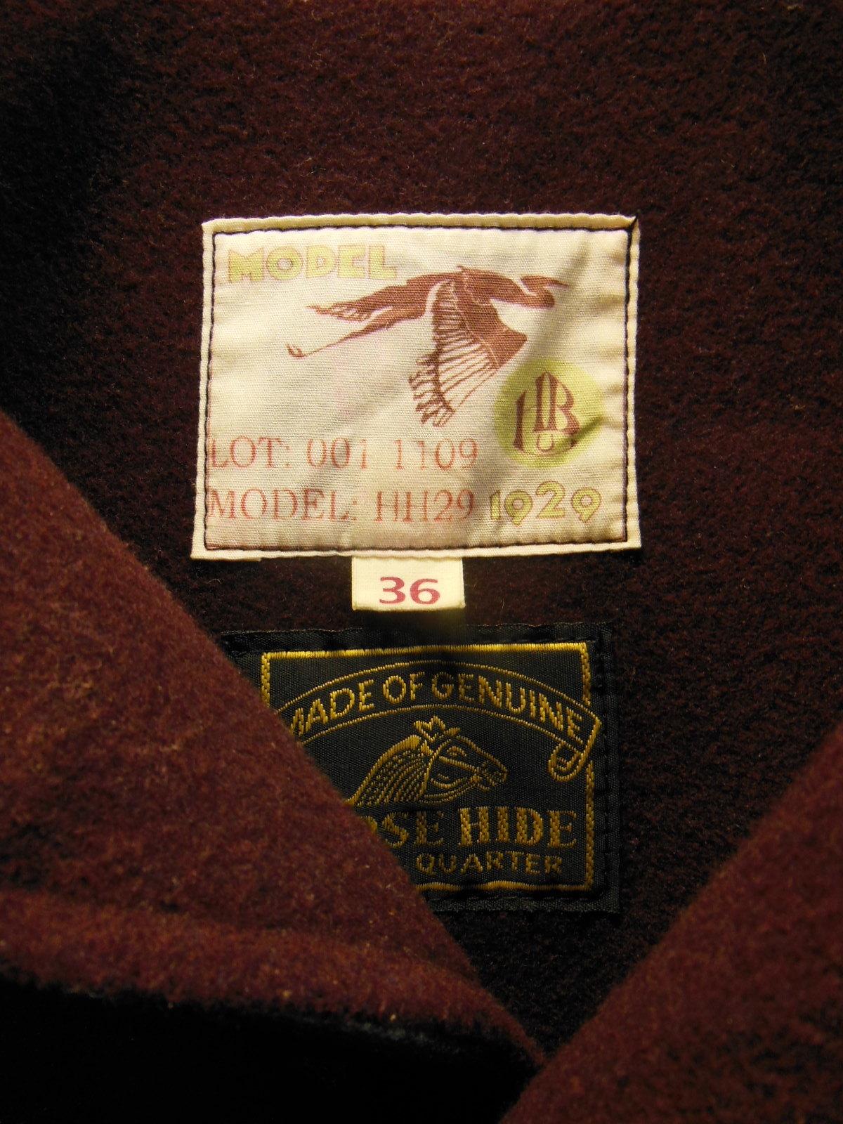 USED HIMEL BROTHERS LEATHER HERON 1929/新喜皮革製黒ホースハイド/SIZE-36/ボタンフロント A-1 ジャケット_c0187684_15024826.jpg