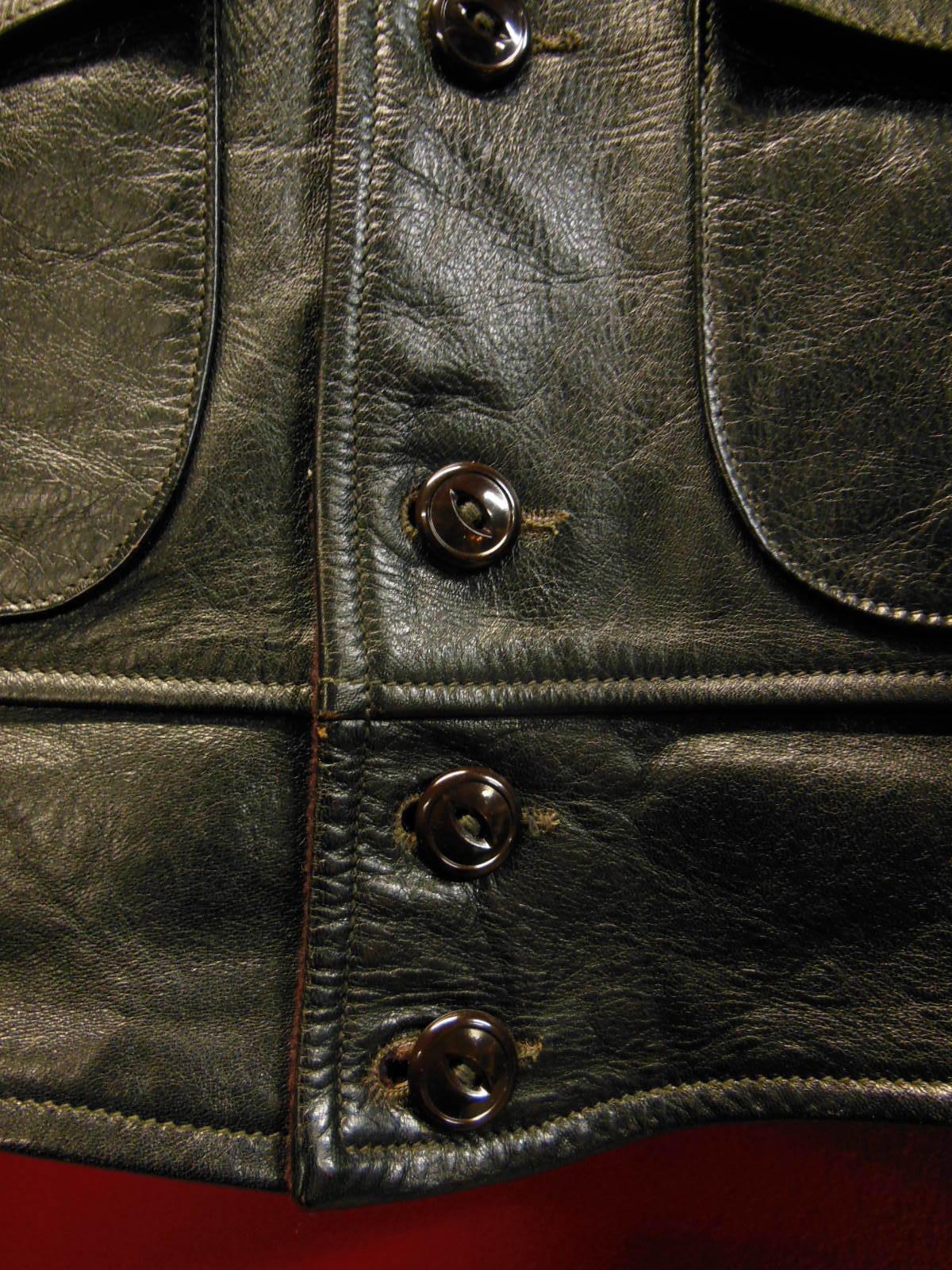 USED HIMEL BROTHERS LEATHER HERON 1929/新喜皮革製黒ホースハイド/SIZE-36/ボタンフロント A-1 ジャケット_c0187684_15032399.jpg