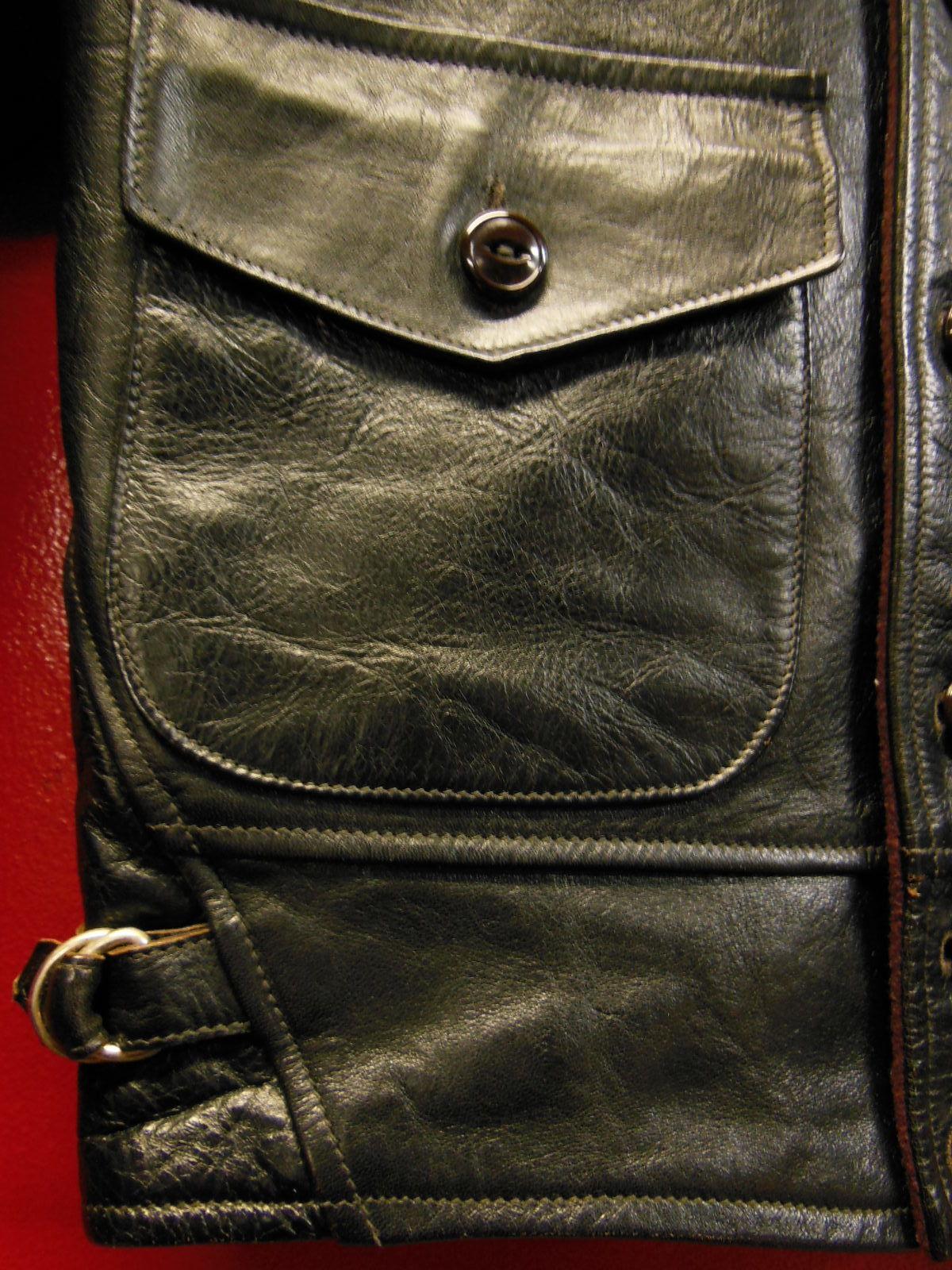 USED HIMEL BROTHERS LEATHER HERON 1929/新喜皮革製黒ホースハイド/SIZE-36/ボタンフロント A-1 ジャケット_c0187684_15034120.jpg