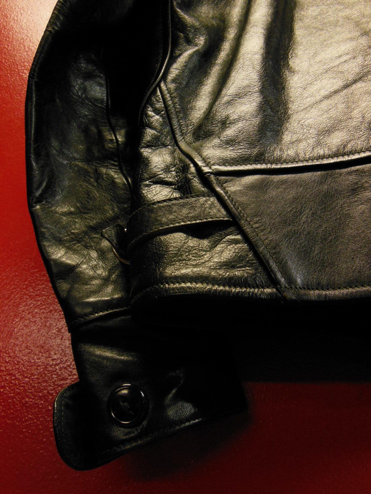 USED HIMEL BROTHERS LEATHER HERON 1929/新喜皮革製黒ホースハイド/SIZE-36/ボタンフロント A-1 ジャケット_c0187684_15045370.jpg