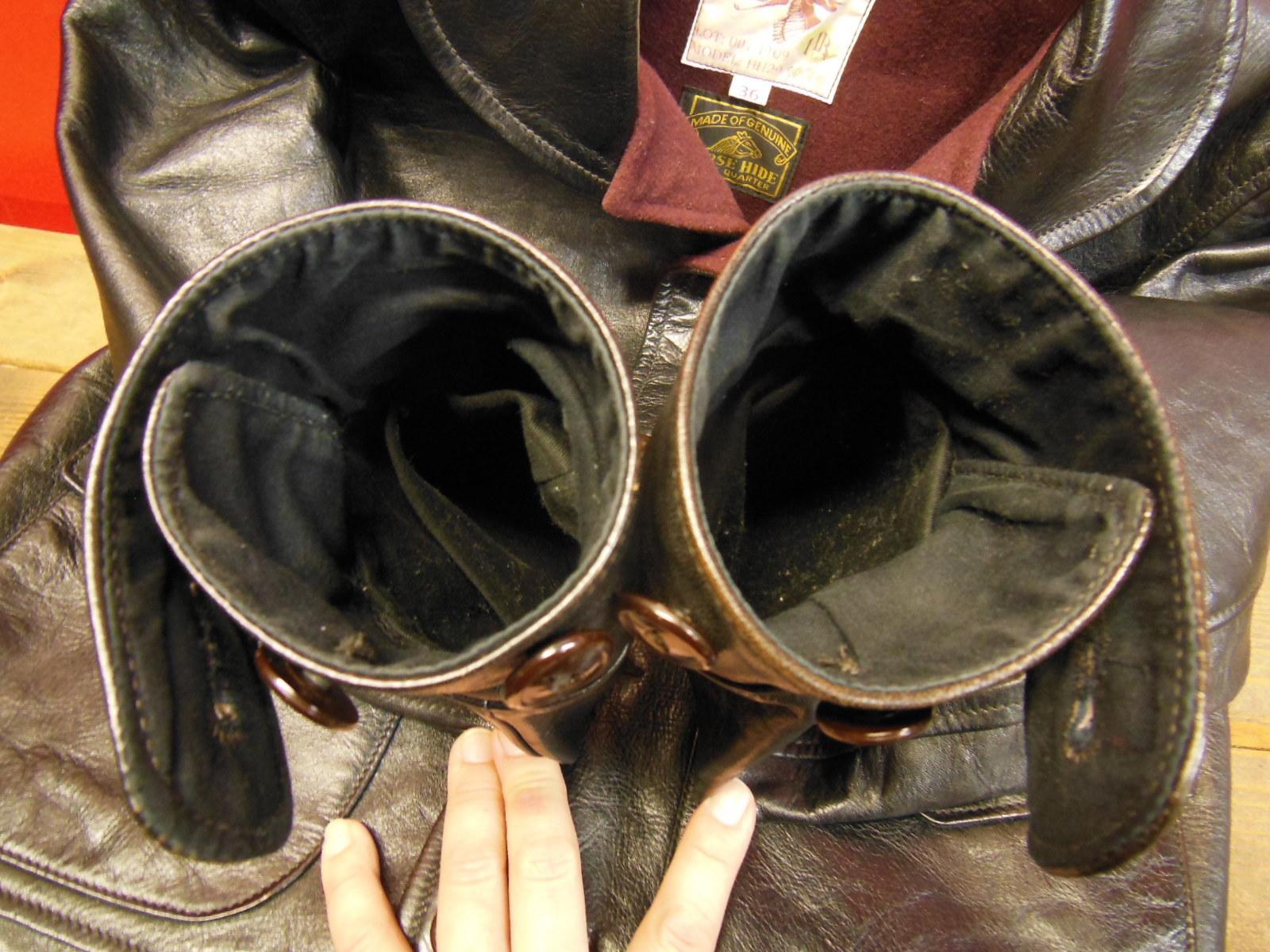 USED HIMEL BROTHERS LEATHER HERON 1929/新喜皮革製黒ホースハイド/SIZE-36/ボタンフロント A-1 ジャケット_c0187684_15052186.jpg