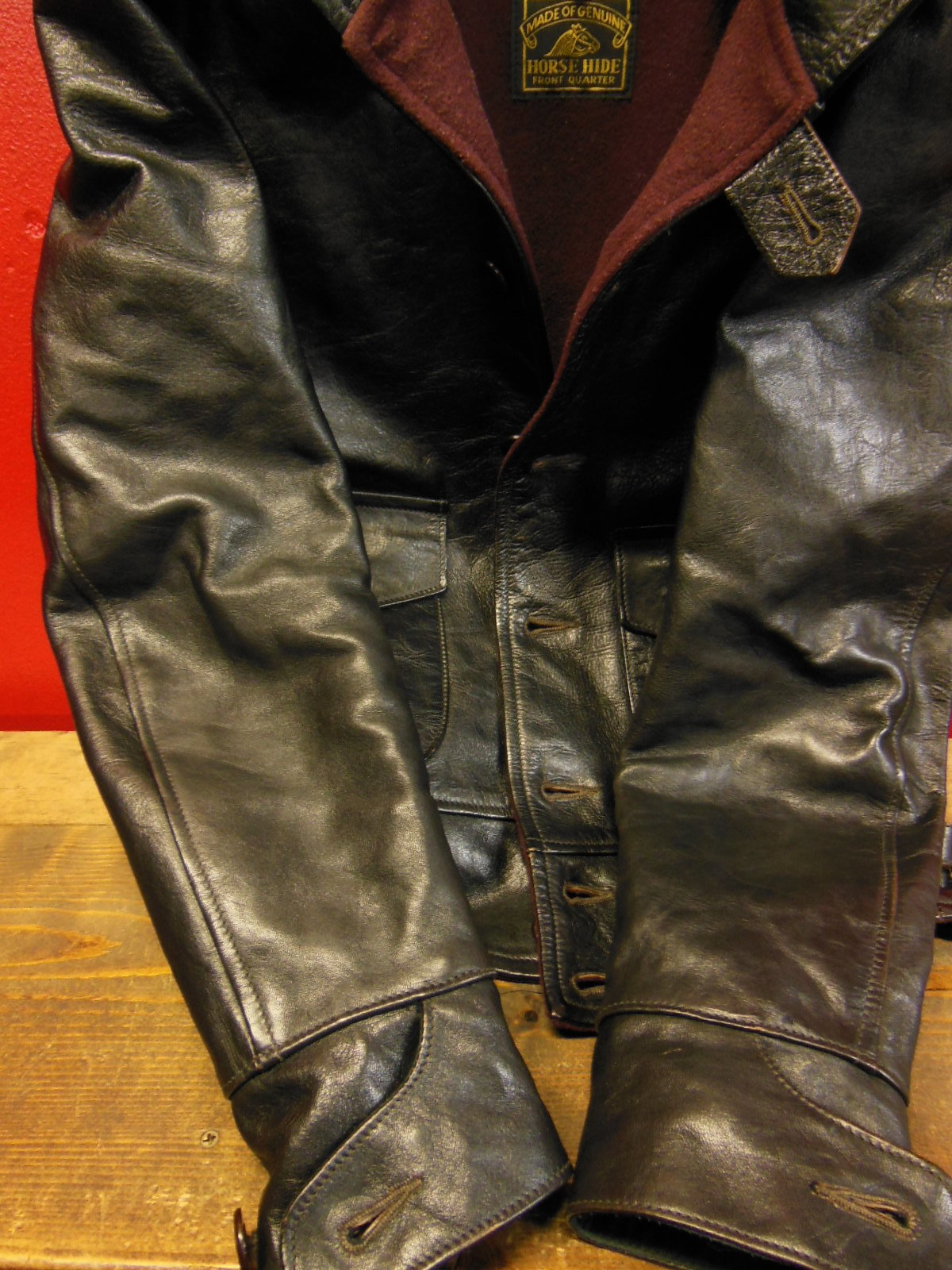 USED HIMEL BROTHERS LEATHER HERON 1929/新喜皮革製黒ホースハイド/SIZE-36/ボタンフロント A-1 ジャケット_c0187684_15072605.jpg