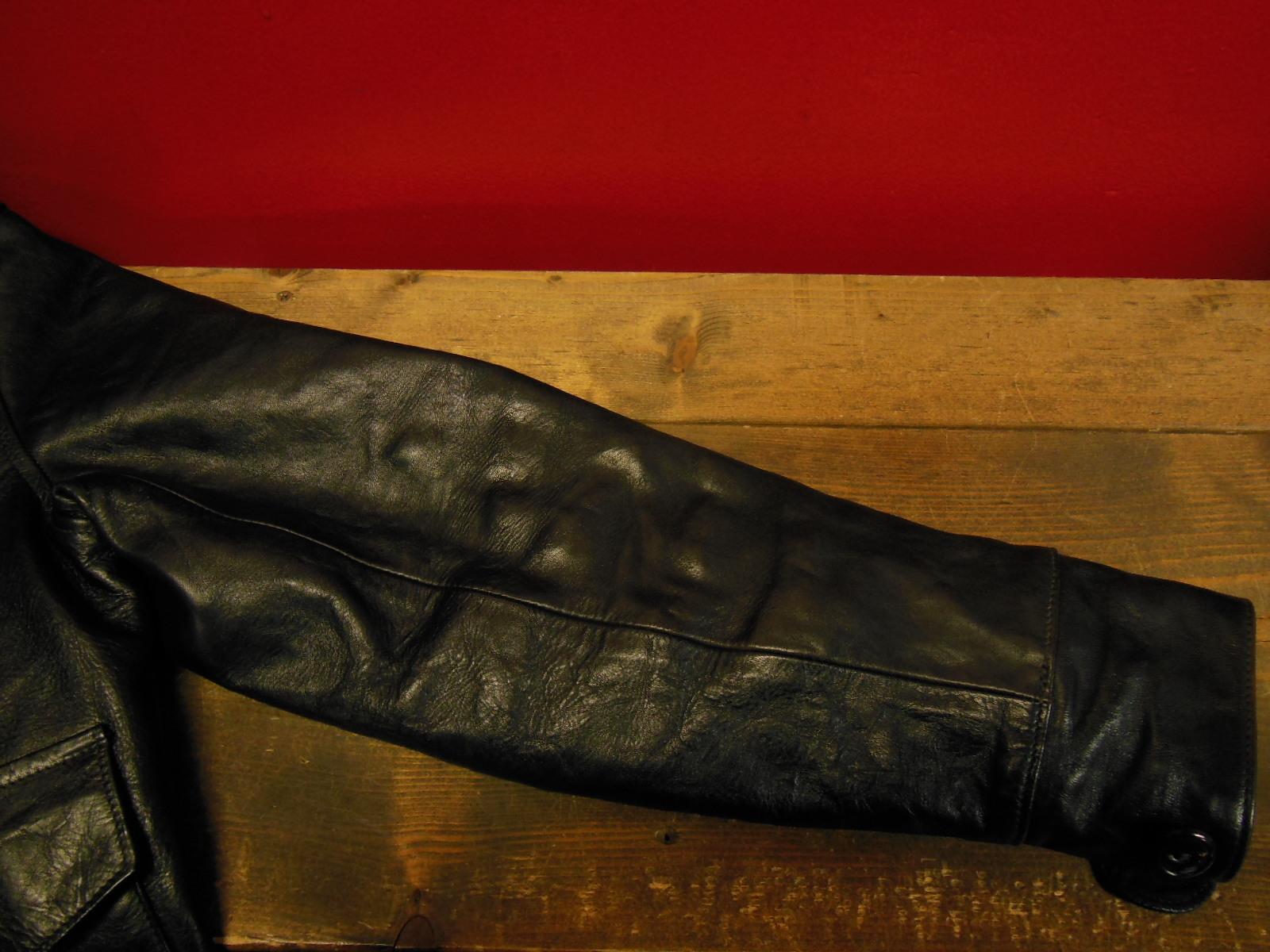 USED HIMEL BROTHERS LEATHER HERON 1929/新喜皮革製黒ホースハイド/SIZE-36/ボタンフロント A-1 ジャケット_c0187684_15075738.jpg